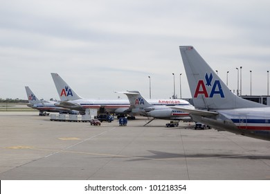CHICAGO-APR 21: American Airlines aircraft at the Chicago Ohare airport in Chicago, Illinois on April 21, 2012. American Airlines has around 900 aircraft and serves 250 cities in 50 countries with 3,400 daily flights.