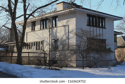 Chicago,Il - 03/04/2015: Guy Smith Residence. Architect Frank Lloyd Wright. Built 1917