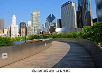 CHICAGO,IL - MAY 19: BP Pedestrian Bridge in millennium park, Chicago on May 19, 2012. The bridge spans Columbus Drive to connect Daley Bicentennial Plaza with Millennium Park, Designed by Frank Gehry