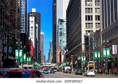 Chicago,Illinois / USA - 03.11.2017: Street of chicago with St Patrick's day placard bill and traffic