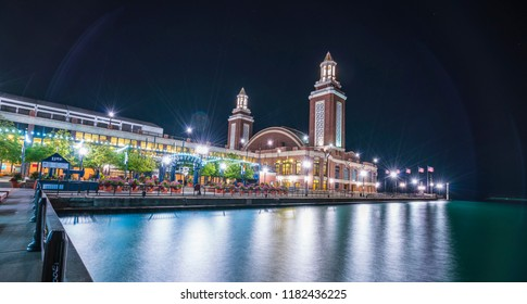 chicago,illinois,usa. 08-15-17: beautiful Navy pier at night with chicago skyline.