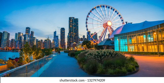chicago,illinois,usa. 08-15-17: beautiful Navy pier at dusk with chicago skyline.