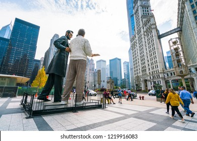 chicago.illinois,usa. 08-16-17: Abraham Lincoln and an unknown modern man,Seward Johnson's sculpture in downtown Chicago.