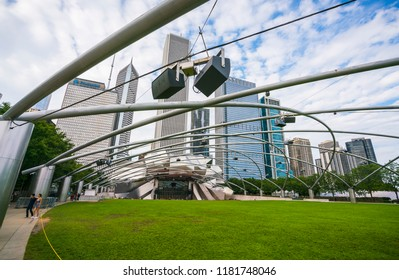 chicago,illinois,usa,08-13-17: Jay Pritzker Pavilion in Millennium Park in the evening.