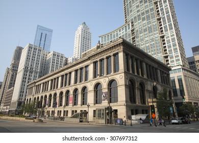 CHICAGO,IL/USA - JULY 5:  facade of The public Library of the city of Chicago as on July 5 2015 in Chicago, IL.