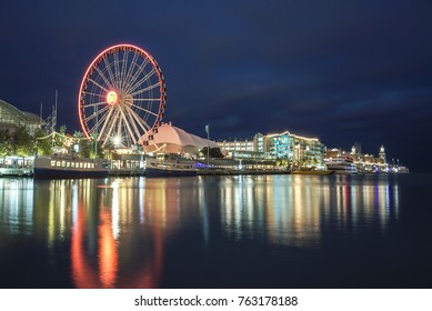 Chicago's Navy Pier with lighted Ferris Wheel at Night
