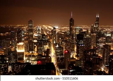 Chicago's skyline by night from John Hancock Center.