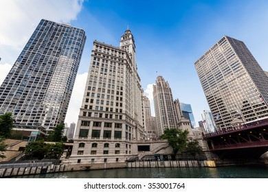 Chicago,USA - July 16, 2013: Wrigley building in Chicago.The Wrigley Building is a skyscraper with two towers (South Tower and North Tower)