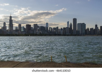 CHICAGO,USA-AUGUST 14,2013:view of  Chicago skyline at sunset during a summer day.