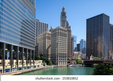 Chicago,USA-July 12,2013: Wrigley building in Chicago.The Wrigley Building is a skyscraper  with two towers (South Tower and North Tower)
