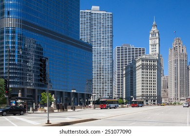Chicago,USA-July 13,2013: Famous Wrigley building and Trump tower in Chicago.The Wrigley Building is a skyscraper  with two towers (South Tower and North Tower). The Trump Tower was completed in 2008.