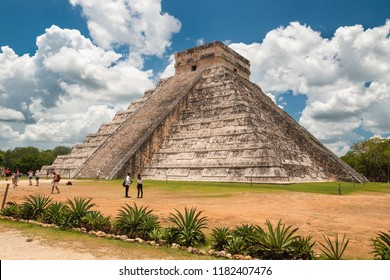 Chicen Itza (Yucatan), Mexico, 11-June-2018. The famous pyramid El Castillo also known as the Temple of Kukulcan; on UNESCO World Heritage Site