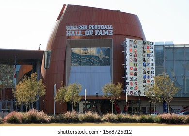 The Chic-Fil-A College Football Hall of Fame, founded by the National Footbal Foundation, is located near Centennial Olympic Park - Atlanta, Georgia, USA - November 19, 2019