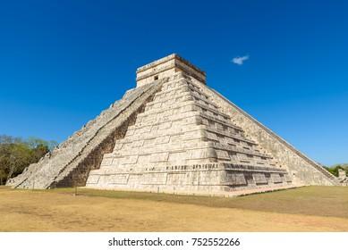 Chichen Itza - El Castillo Pyramid - Ancient Maya Temple Ruins in Yucatan, Mexico