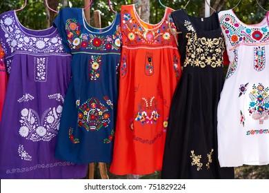 Chichen itza embroided dresses in outdoor shop Mexico Yucatan