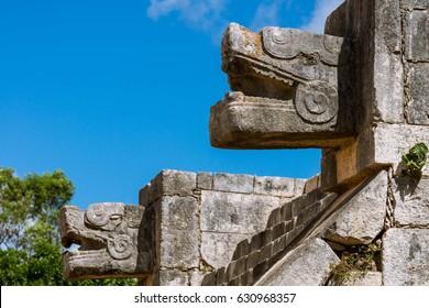 Chichen Itza, Mayan, Mexico, Platform of the Eagles and Jaguars, Platforma de las Aguilas y los Jaguares, Ruins, Yucatan, Yucatán Peninsula