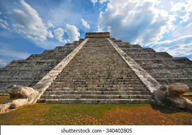 Chichen Itza Mexican Pyramid with Beautiful Sky