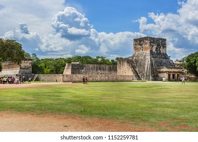 CHICHEN ITZA, MEXICO - AUGUST 2, 2015: Chichen Itza Maya ruins (large pre-Columbian city) is one of the most visited archaeological sites in Mexico. Yucatan, Mexico.