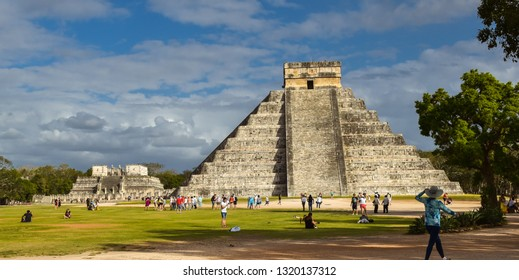 Chichen Itza, Mexico - Feb. 21, 2019: Temple of Kukulkan at the Chichen Itza archaeological site in Yucatan, Mexico.