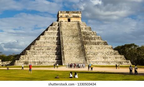 Chichen Itza, Mexico - Feb. 21, 2019: Temple of Kukulkan at the Chichen Itza archaeological site in Yucatan, Mexico.