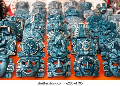 Chichen Itza, Mexico - February 23, 2016: Maya masks Souvenirs display at Chichen Itza archaeological site, Mexico.