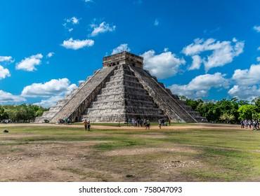 Chichen Itza, Mexico, May 17, 2017 - El Castillo in Chichen Itza