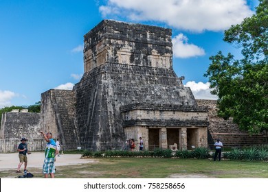 Chichen Itza, Mexico, May 17, 2017 - Temple of the Jaguars and the Great Ball Court in Chichen Itza Display Mayan Hieroglyphics
