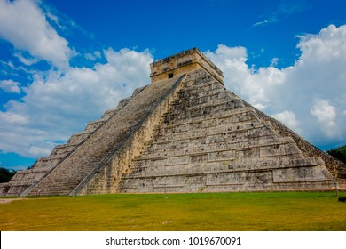 CHICHEN ITZA, MEXICO - NOVEMBER 12, 2017: Beautiful view of Chichen Itza, one of the most visited archaeological sites in Mexico. About 1.2 million tourists visit the ruins every year