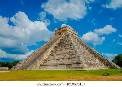 CHICHEN ITZA, MEXICO - NOVEMBER 12, 2017: Steps of the famous pyramid at Chichen Itza on the Yucatan Peninsula in Mexico