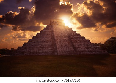 Chichen Itza Pyramid sunrise El Templo Kukulcan temple in Mexico Yucatan