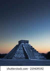 Chichen Itza Pyramid at Sunrise, Mexico