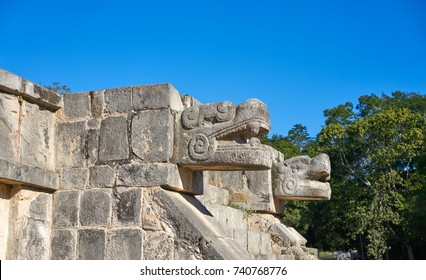 Chichen Itza snake head at Yucatan Mexico
