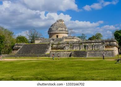Chichen Itza, Yucatan/Mexico - 02 21 2019:  The Mayan  Observatory in Chichen Itza archeological site