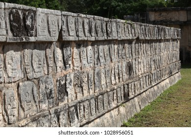 CHICHEN ITZA/MEXICO - 28 JANUARY 2018: wall, skull-shaped bas-reliefs