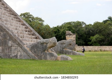 Chichen-Itza, Yucatan, Mexico - September 30, 2020: A feathered serpent sculpture at the base of one of the stairways of Kukulcan (El Castillo)
