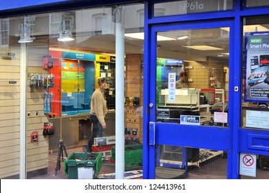 CHICHESTER, ENGLAND - JANUARY 12: National camera retailer Jessops closes its doors on all shops after falling into administration on January 12, 2013 in Chichester, England