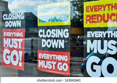 CHICHESTER, ENGLAND � NOVEMBER 10: closing down sale at Blockbusters who are  in administration for the second time on 29th of October 2013, taken on November 10th in Chichester, England