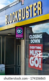CHICHESTER, ENGLAND - NOVEMBER 10: closing down sale at Blockbusters who are in administration for the second time on 29th of October 2013, taken on November 10th, 2013 in Chichester, England