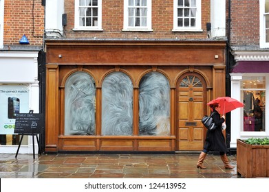 CHICHESTER, ENGLAND-JAN 12: Many highstreet stores lay empty as the economic climate has forced many retailers to shut their doors, this used to house a building society in Jan 12, 2013 in Chichester.