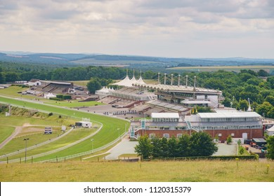 Chichester, JUN 8: Aerial view of the Goodwood Racecourse on JUN 8, 2017 at Chichester, United Kingdom