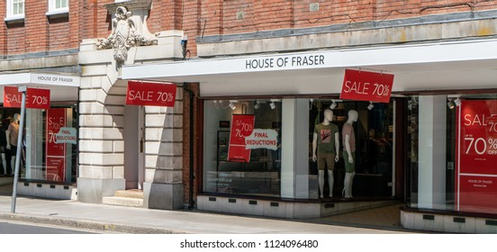 Chichester, Sussex / UK - June 30 2018: House of Fraser Department Store in Chichester scheduled to close a few months after major refurbishment; 70% sale attempts to lure customers.