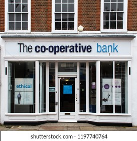 Chichester, United Kingdom - October 06 2018:   The front of the Co-Operative bank branch in North Lane