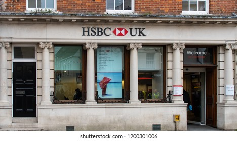 Chichester, United Kingdom - October 06 2018:   The front of the HSBC Bank branch on North Street