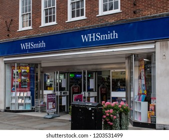 Chichester, United Kingdom - October 06 2018:   The frontage of WH Smiths newsagent, bookshop and stationers in North Street