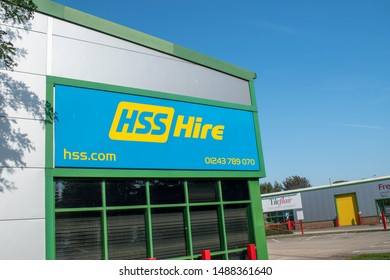 Chichester, West Sussex, UK, August 26, 2019, HSS Hire PLC, A leading supplier of tool & equipment hire in the UK.