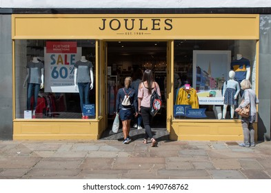Chichester, West Sussex, UK, August 15, 2019, Joules clothing fashion shop situated in the historic town of Chichester.