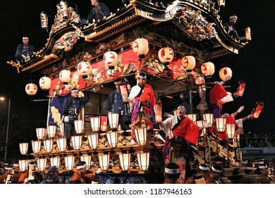 CHICHIBU, JAPAN - DECEMBER 3, 2016: Parade float is pulled at Chichibu Night Festival in Japan. Chichibu Yomatsuri festival was added to UNESCO Intangible Cultural Heritage list in 2016.