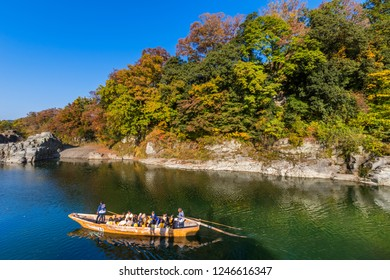 """CHICHIBU, SAITAMA / JAPAN - NOVEMBER 11 2018 : Scenery of """"Iwadatami"""" in """"Nagatoro"""". Leisure down the river by boat is popular with tourists. You can enjoy beautiful scenery from the river."""