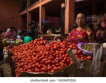 Chichicastenango / Guatemala - 11 07 2018: Local woman at the market in Chichicastenango, Guatemala