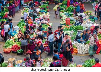 Chichicastenango / Guatemala - April 28, 2016: Food market in Chichicastenango, Guatemala, with only indigenous Mayan people.